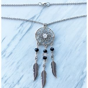 Silverskylight Jewelry - Herkimer diamonds black crystal dream catcher